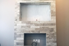 Entertainment Unit Tile Covering Installation - Moose Jaw